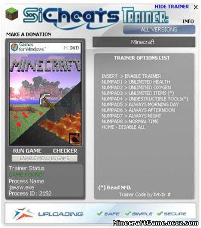 Тренер для minecraft 1.2.3